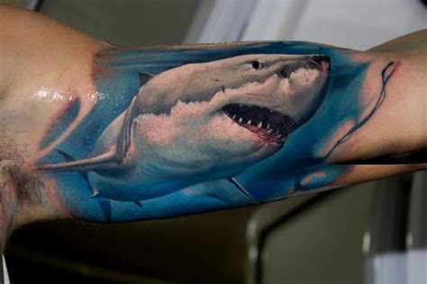 realistic shark tattoo by victor chil tattoonow