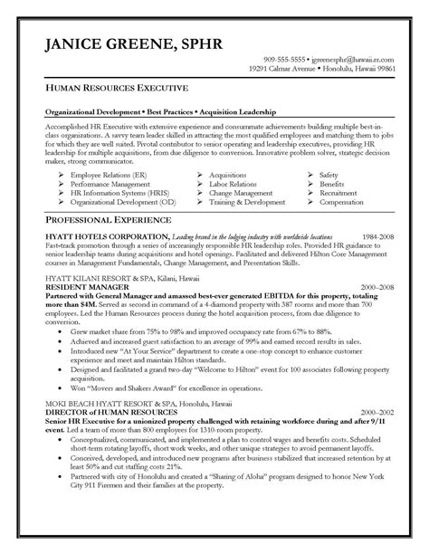Service Letter For Hr Executive Resume Sles Elite Resume Writing