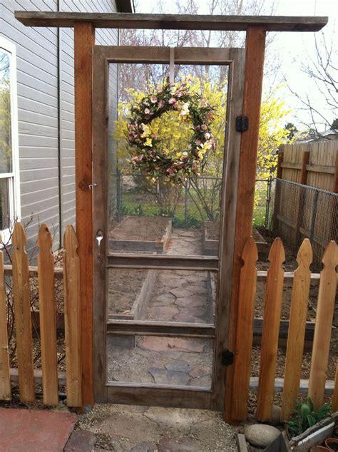 backyard gate door garden gate made from an old screen door green thumb