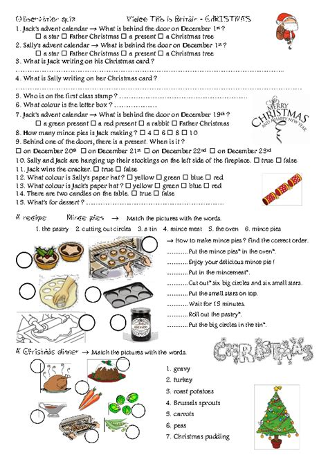 film observation quiz movie worksheet christmas in england