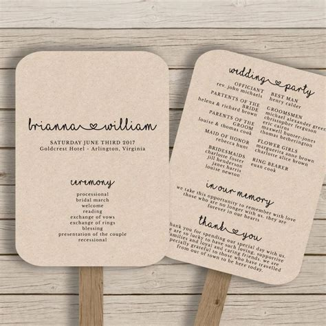 diy wedding program fans template wedding fan program template rustic wedding fan