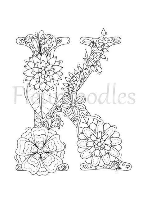 K Coloring Pages For Adults by Coloring Page Floral Letters Alphabet K