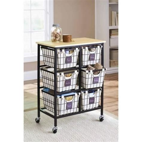 Wire Rolling Cart With Drawers Better Homes And Gardens 6 Drawer Wire Cart Black