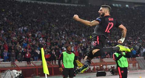 red star belgrade 0 1 arsenal giroud wondergoal maintains uefa europa league giroud s goal gives arsenal away