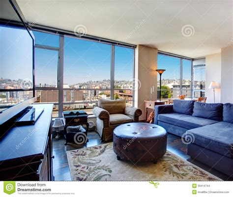 Modern Living Room With View Modern City Apartment Living Room Stock Photo Image