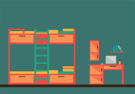 bunk bed room vector illustration   vector art stock graphics images
