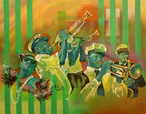 watercolor new orleans second line second line 2 by reuben cheatem