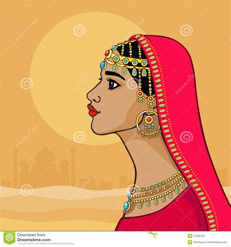cartoon indian princess dress fantastic indian princess in a red dress profile view