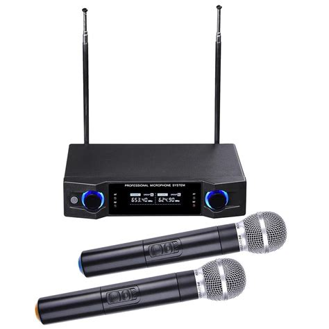 Mic Uhf professional dual channel uhf wireless microphone system w