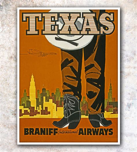 posters for home decor vintage travel poster texas home decor 11x14 quot a179 ebay