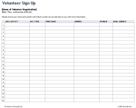 volunteer sign up sheet templates download the volunteer sign up sheet from vertex42 com