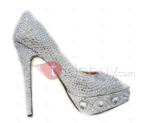 new platform silver rhinestone peep toe stiletto heels