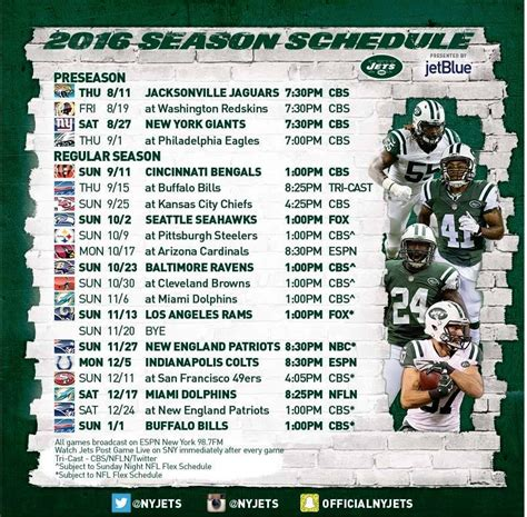 new york jets official 2016 nfl regular season schedule