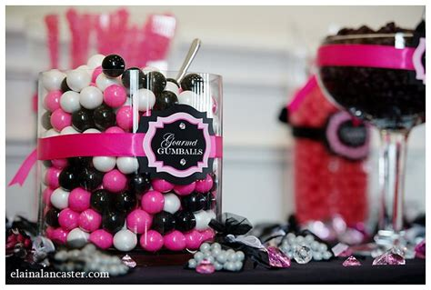 Hot Pink And Black Candy Buffet Closeup Of Labels Pink And Black Buffet