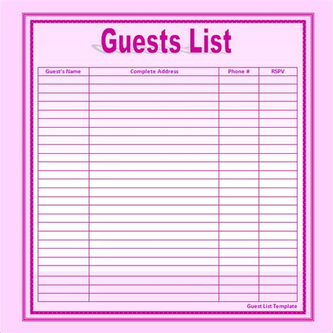 bridal shower guest list template wedding guest list sle helloalive