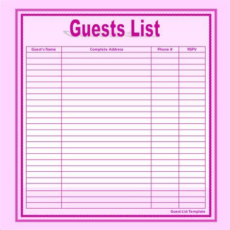 Guest List Templates To Do List Template