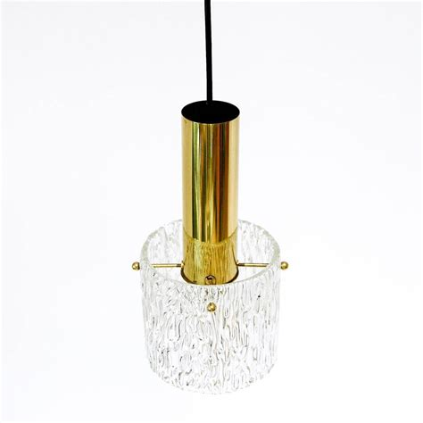 Set Of Three Glass And Brass Pendant Lights By Kalmar Chandelier And Pendant Light Sets