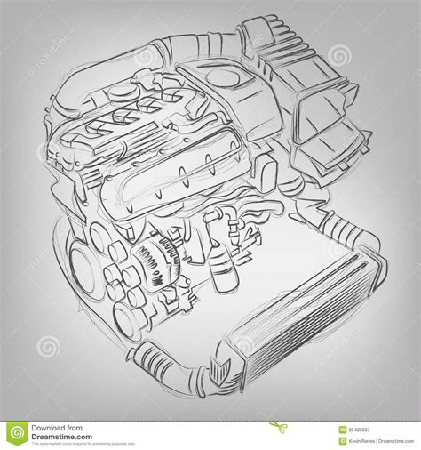 vector motor layout vector sketched engine stock vector image of concept