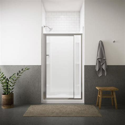 Sterling Pivot Shower Door Installation Shop Sterling Vista Pivot Ii 23 In To 26 5 In W Framed Silver Pivot Shower Door At Lowes