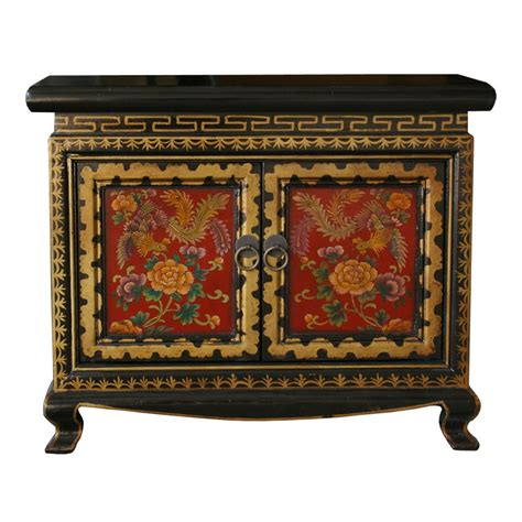 Chinese flowers painted small cupboard oriental decorative furniture black red ebay