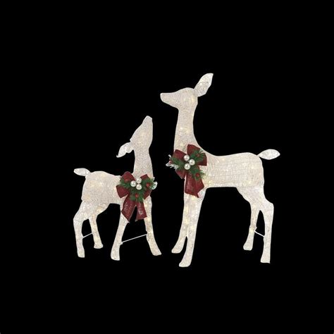 pvc lighted reindeer with sleigh home accents 36 in led lighted white pvc deer and 28 in led lighted white pvc doe
