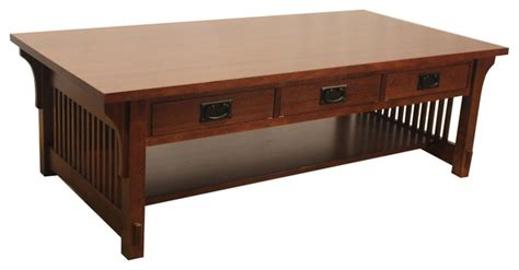 Mission Style Coffee Table With Drawers Crafters And Weavers Arts And Crafts Mission Coffee Table With 3 Drawers Coffee Tables Houzz