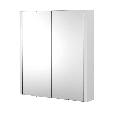 Lux 600mm Gloss White 2 Door Mirror Bathroom Cabinet Ebay Mirror Door Bathroom Cabinet