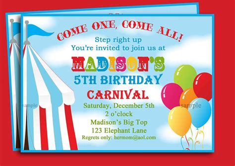 carnival themed birthday invitations carnival birthday invitations birthday party invitations