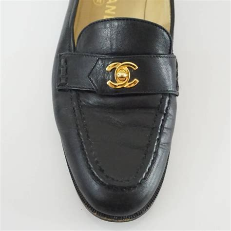 chanel black loafers chanel black leather loafers with quot cc quot turnkey detail 40