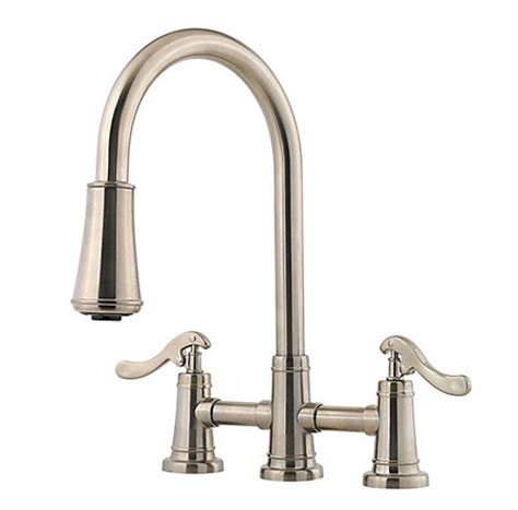 2 handle pull down kitchen faucet brushed nickel ashfield 2 handle pull down kitchen faucet