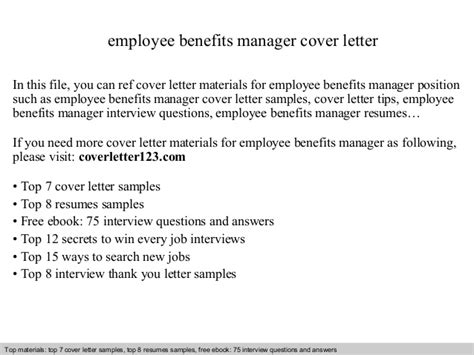 Benefits Manager Cover Letter Employee Benefits Manager Cover Letter