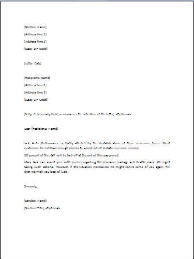 termination letter format for layoff sle layoff letter template business