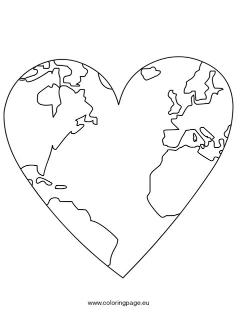 heart earth coloring pages earth day world map in heart coloring page earth heart