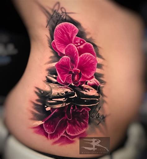 pink orchids girls realistic side tattoo best tattoo