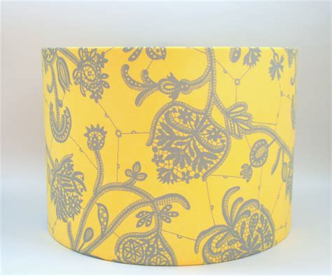 yellow pattern l shade yellow and grey fabric lshade drum table floor or