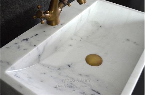 "24"" White Marble Bathroom vessel sink   faucet hole"