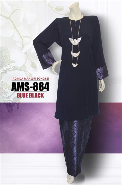 Baju Kurung Moden Blue Black baju kurung pahang songket ams 884 as syahid collections
