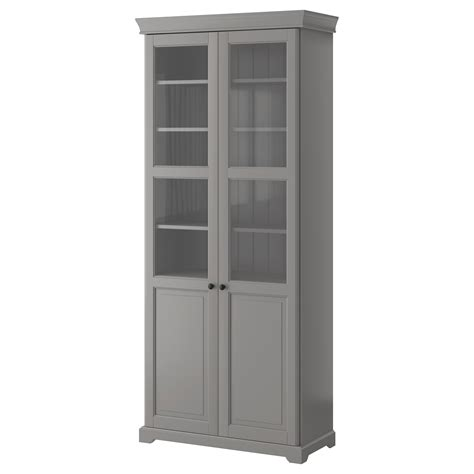 Liatorp Bookcase With Glass Doors Grey 96x214 Cm Ikea Ikea Bookcases With Glass Doors
