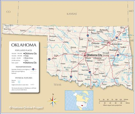 texas oklahoma map showing cities reference map of oklahoma usa nations project