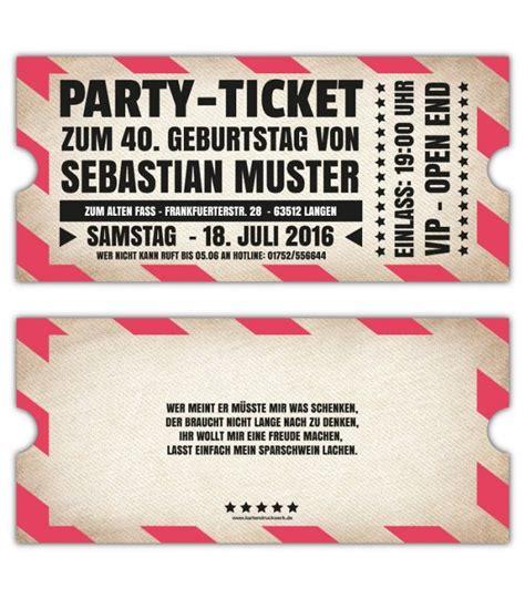 Einladungen Gestalten by Vip Einladungskarten Originelle Einladung Ticket