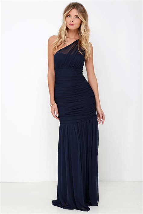 One Shoulder Maxi Dress one shoulder dress maxi dress navy blue dress 98 00