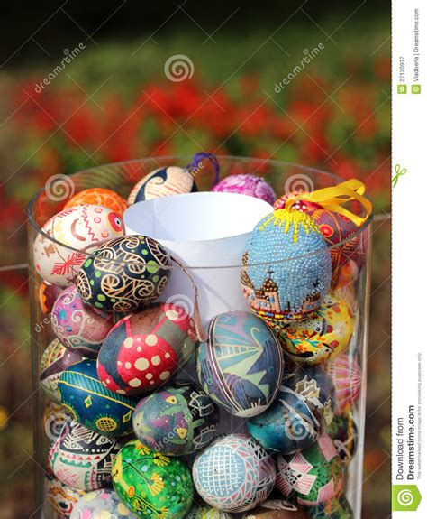 decorative easter eggs decorative easter eggs in a glass vase royalty free stock