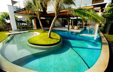 modern small pool house floor modern swimming pool design light beautiful garden by the pond chrome stainless ladder to climb