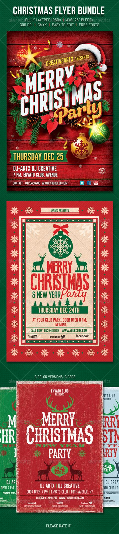 dafont gobold christmas flyer bundle events flyers