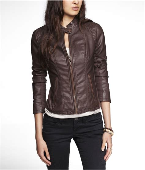 brown leather moto lyst express minus the leather double peplum moto jacket