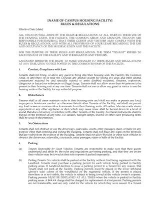 act dormitory housing tenancy agreement legal forms