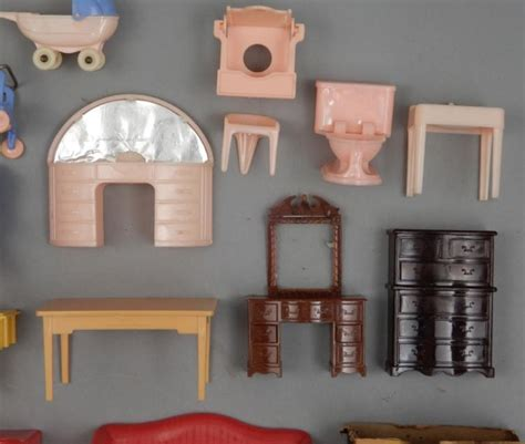 plastic dolls house furniture grouping of 1940 s 50 s hard plastic doll house furniture