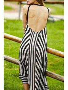 black white halter backless stripe halter neck black white stripe backless dress