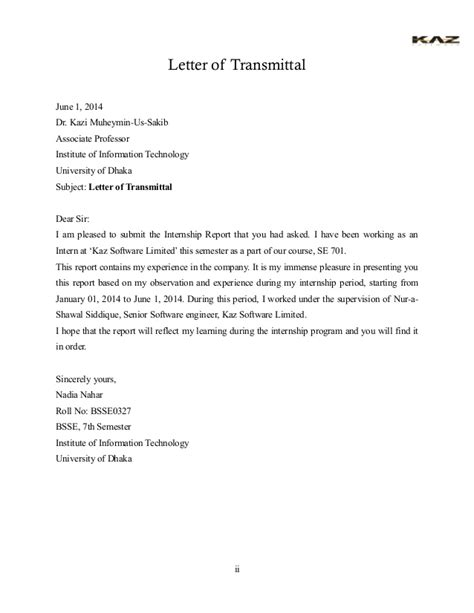 Transmittal Letter For Sending Documents Internship Report