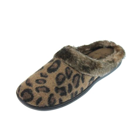 cheetah slippers isotoner 5092 womens taupe cheetah faux fur clog slippers